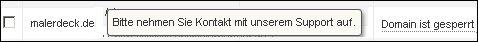 Domain malerdeck.de ist gesperrt